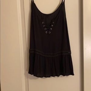 Gray tank with lace up detail
